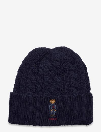 Polo Bear Cable-Knit Beanie - beanies - norfolk blue