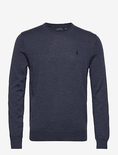 Slim Washable Merino Sweater - knitted round necks - fresco blue heath