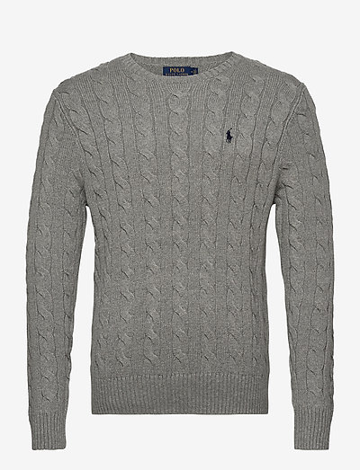 Cable-Knit Cotton Sweater - knitted round necks - fawn grey heather