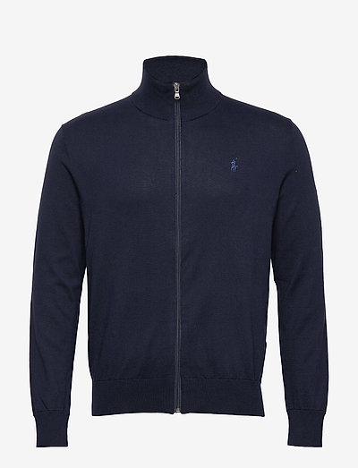Cotton Full-Zip Sweater - basic knitwear - hunter navy