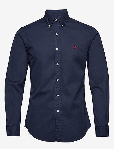 Slim Fit Garment-Dyed Twill Shirt - basic-hemden - cruise navy