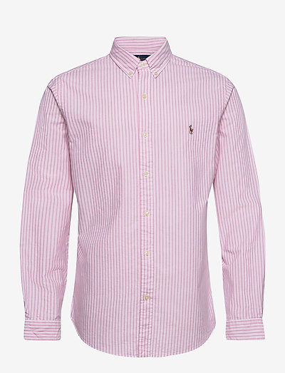 Slim Fit Striped Oxford Shirt - checkered shirts - 2600b rose pink/w