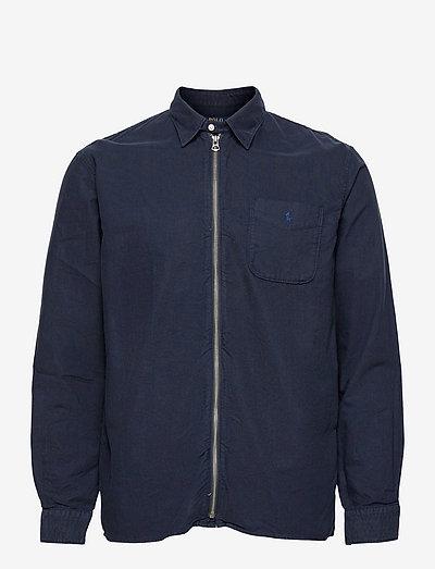 Garment-Dyed Oxford Overshirt - tops - rl navy