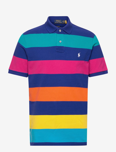 Classic Fit Striped Mesh Polo Shirt - short-sleeved polos - active royal mult