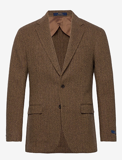 Soft Herringbone Sport Coat - single breasted blazers - brown/tan