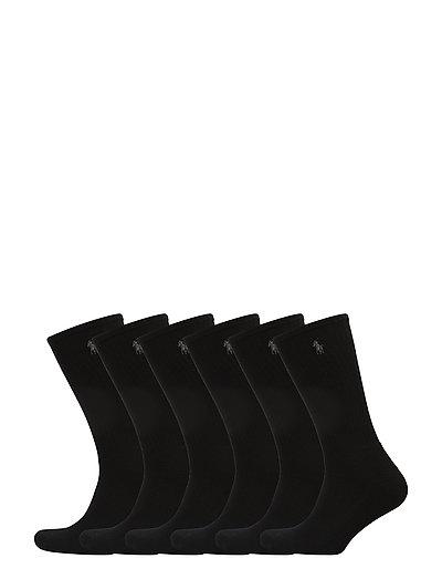 COTTON BLEND-CREW SOCK 6PK - BLACK