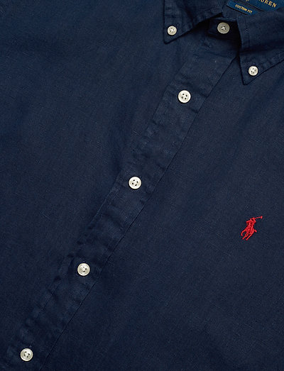 Polo Ralph Lauren Custom Fit Linen Shirt- Paidat Newport Navy