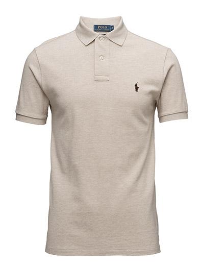 Slim Fit Mesh Polo Shirt - DUNE TAN HEATHE