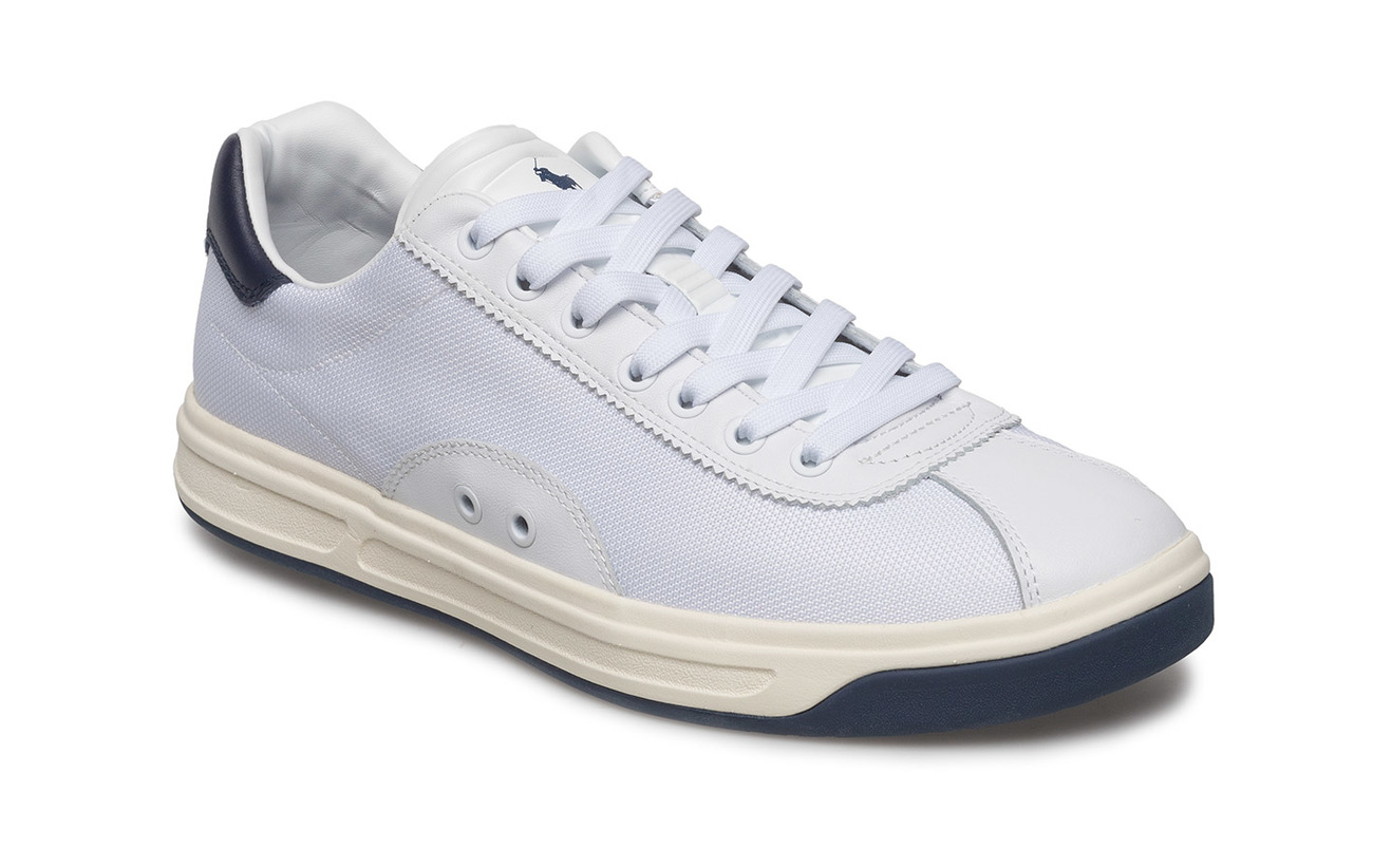 Polo Sport Court 100 Leather-Mesh Sneaker - WHITE/NEWPORT NAV
