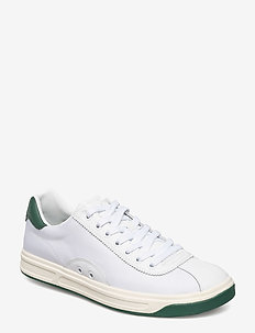 Court 100 Leather-Mesh Sneaker - WHITE/NEW FOREST