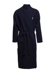 Waffle-Knit Cotton Kimono Robe - CRUISE NAVY