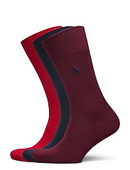 Cotton-Blend Sock 3-Pack - RD/NVY/RED