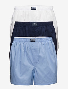 Woven Cotton Boxer 3-Pack - WH/BLUE/NVY