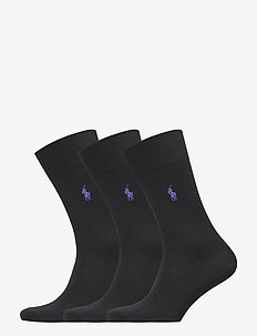 Cotton-Blend Sock 3-Pack - BLACK