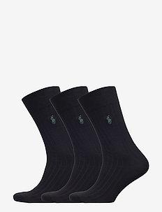 Ribbed Crew Sock 3-Pack - vanlige sokker - black