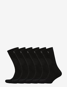 Cotton-Blend Crew Sock 6-Pack - BLACK