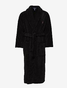 Cotton Terry Shawl Robe - POLO BLACK PP