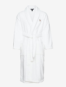 Cotton Terry Shawl Robe - robes - white multi pp