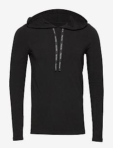 COTTON/SPANDEX-HDE-STP - hoodies - polo black