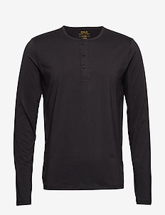 L/S HENLEY-CREW-SLEEP TOP - POLO BLACK