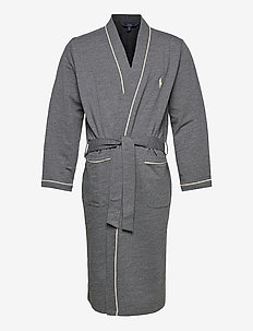 Cotton-Blend Jersey Robe - peignoirs - charcoal heather