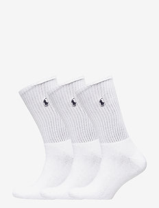 SOCK 3-PACK CREW W/PP - WHITE