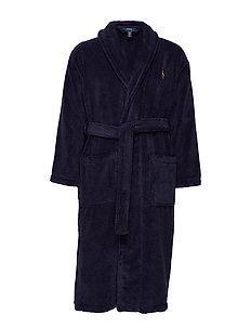 Cotton Terry Shawl Robe - morgenkåper - cruise navy
