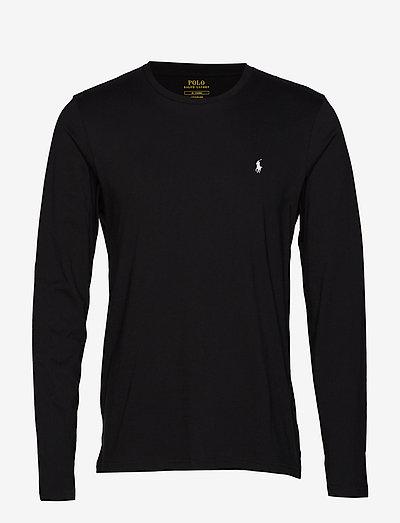 Cotton Jersey Crewneck Shirt - basic t-shirts - polo black