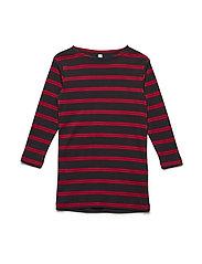 Dress LS Stripe - STRIPE RED W NAVY