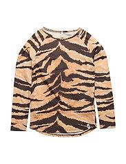 Robs LS Tee Brown Tiger AOP - BROWN TIGER