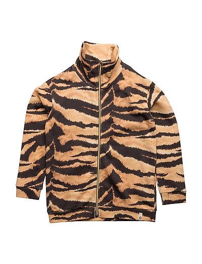 Lecce Zipper Sweat Brown Tiger AOP - BROWN TIGER