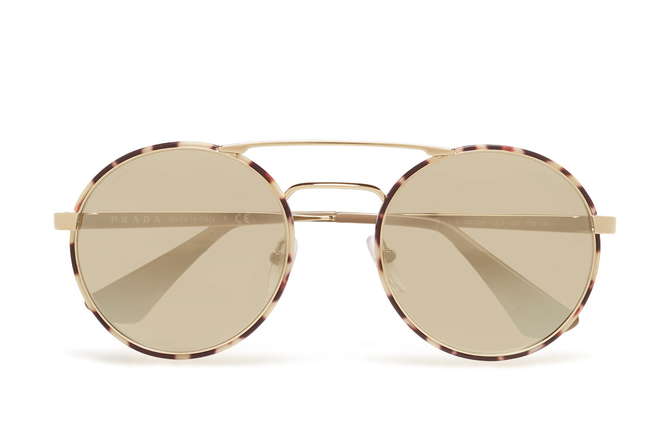 Prada Sunglasses CATWALK - PALE GOLD/TORTOISE/LIGHT BROWN MIRROR GOLD