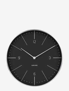 Wall clock Normann numbers black, brushed case - seinäkellot - black