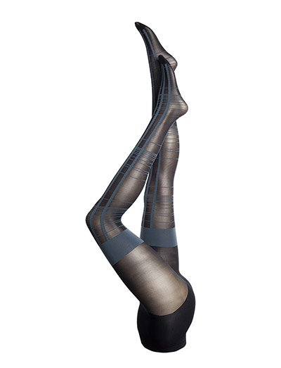 PP CHECKED MOCK HOLD UP TIGHTS - NAVY