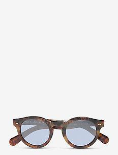 Sunglasses - round frame - mirror blue