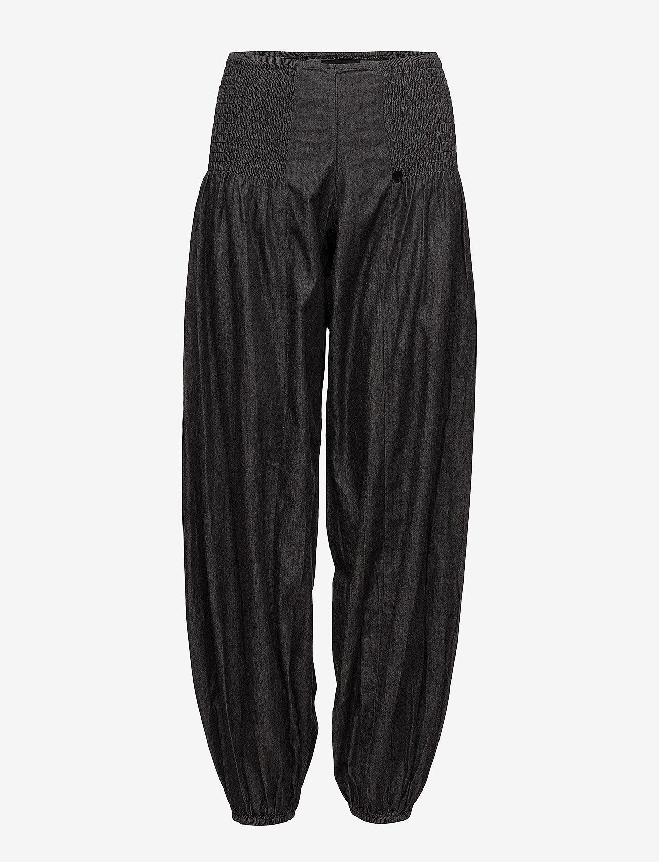 Pulz Jeans - Jill wide denim pant - casual bukser - black solid - 0