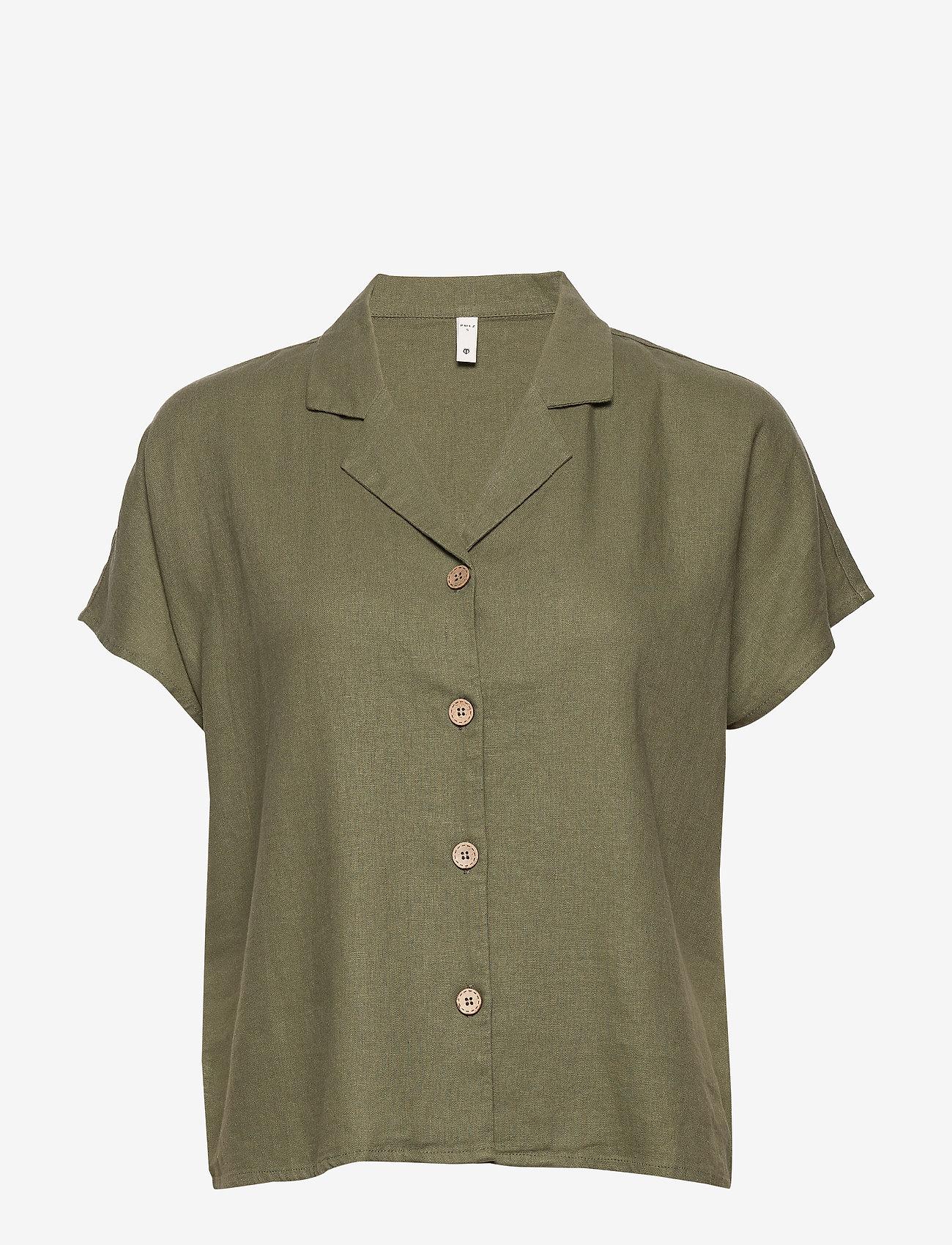 Pulz Jeans - PZBIANCA Shirt - koszule z krótkim rękawem - olivine - 0