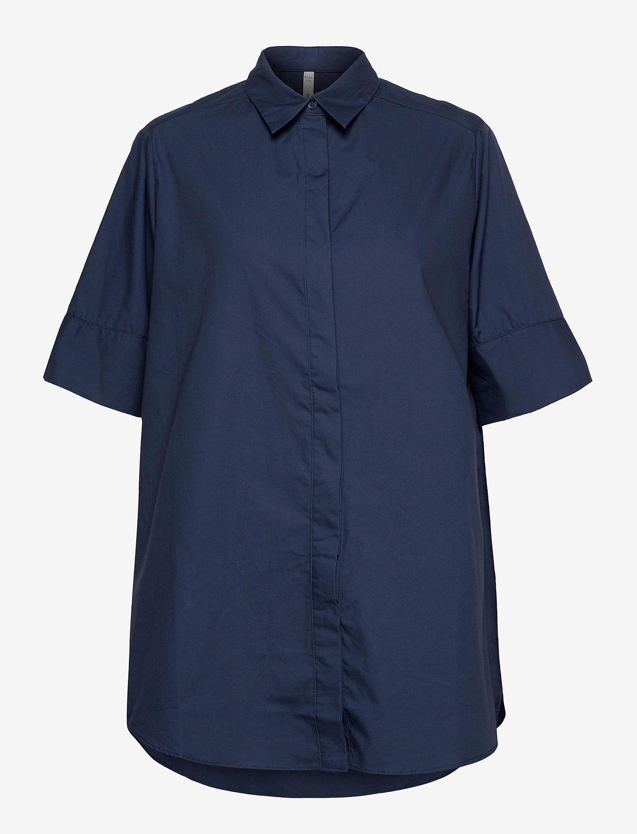 Pulz Jeans - PZWILLO Shirt - overhemden met korte mouwen - dark sapphire - 0
