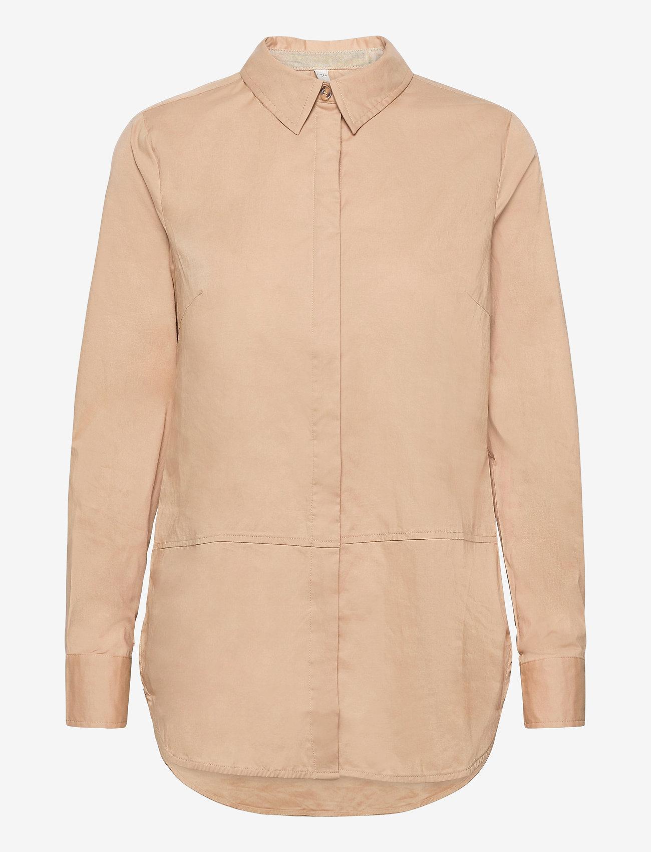 Pulz Jeans - PZELNA Shirt - langærmede skjorter - tannin - 0