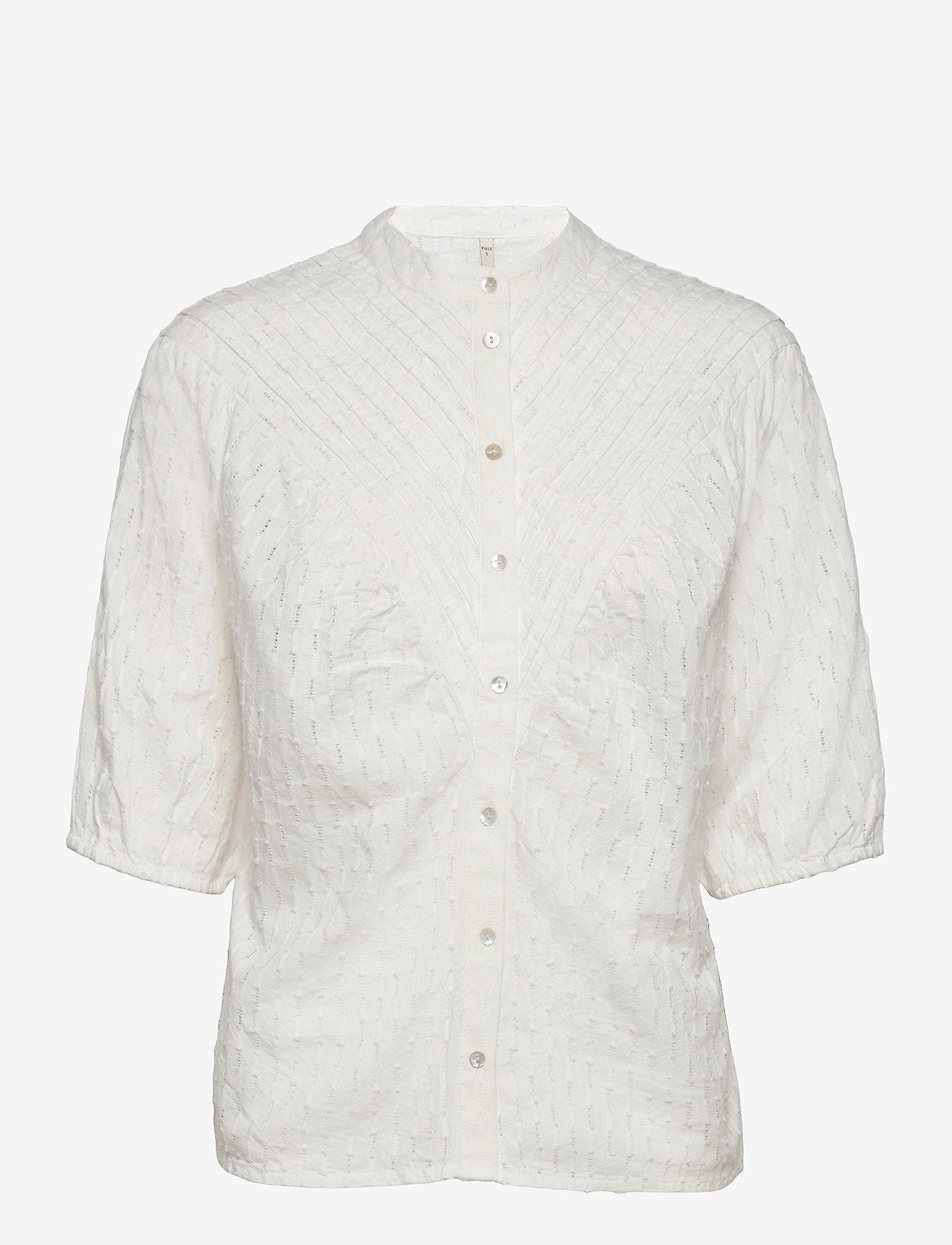 Pulz Jeans - PZLYDIA Shirt - kortærmede bluser - white sand - 0