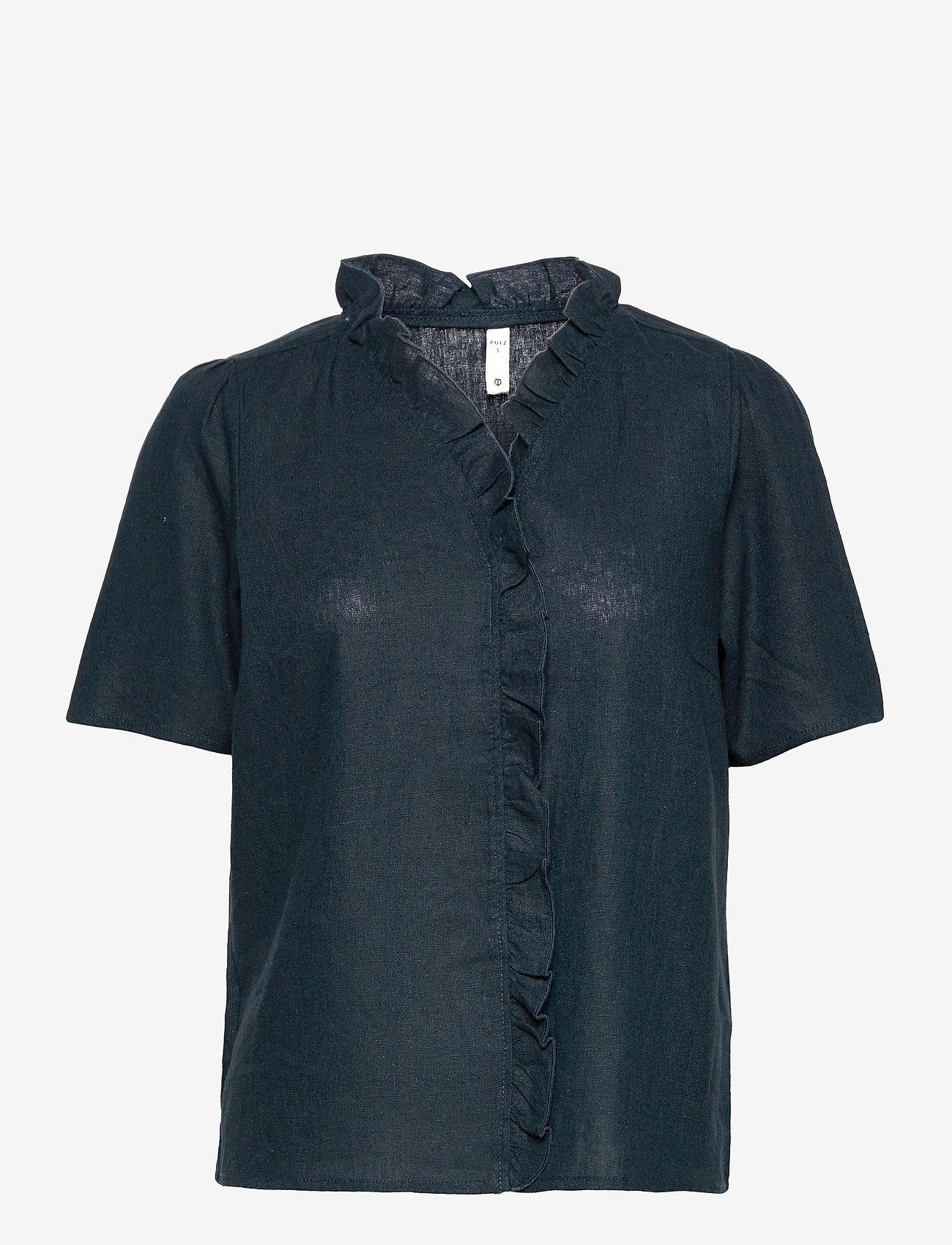 Pulz Jeans - PZBIANCA Blouse - kortærmede bluser - dark sapphire - 0