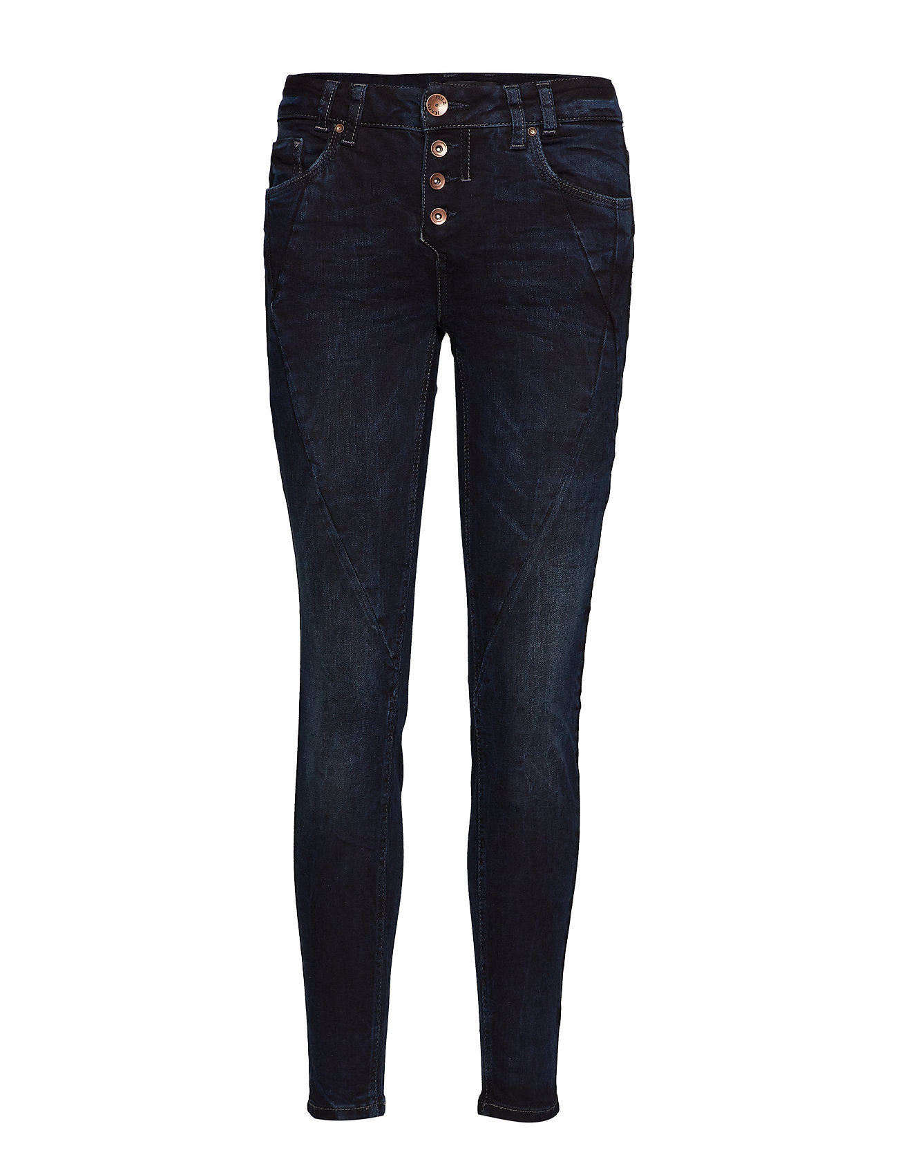 Pulz Jeans Rosita Reg. Waist Ankle - DARK BLUE DENIM