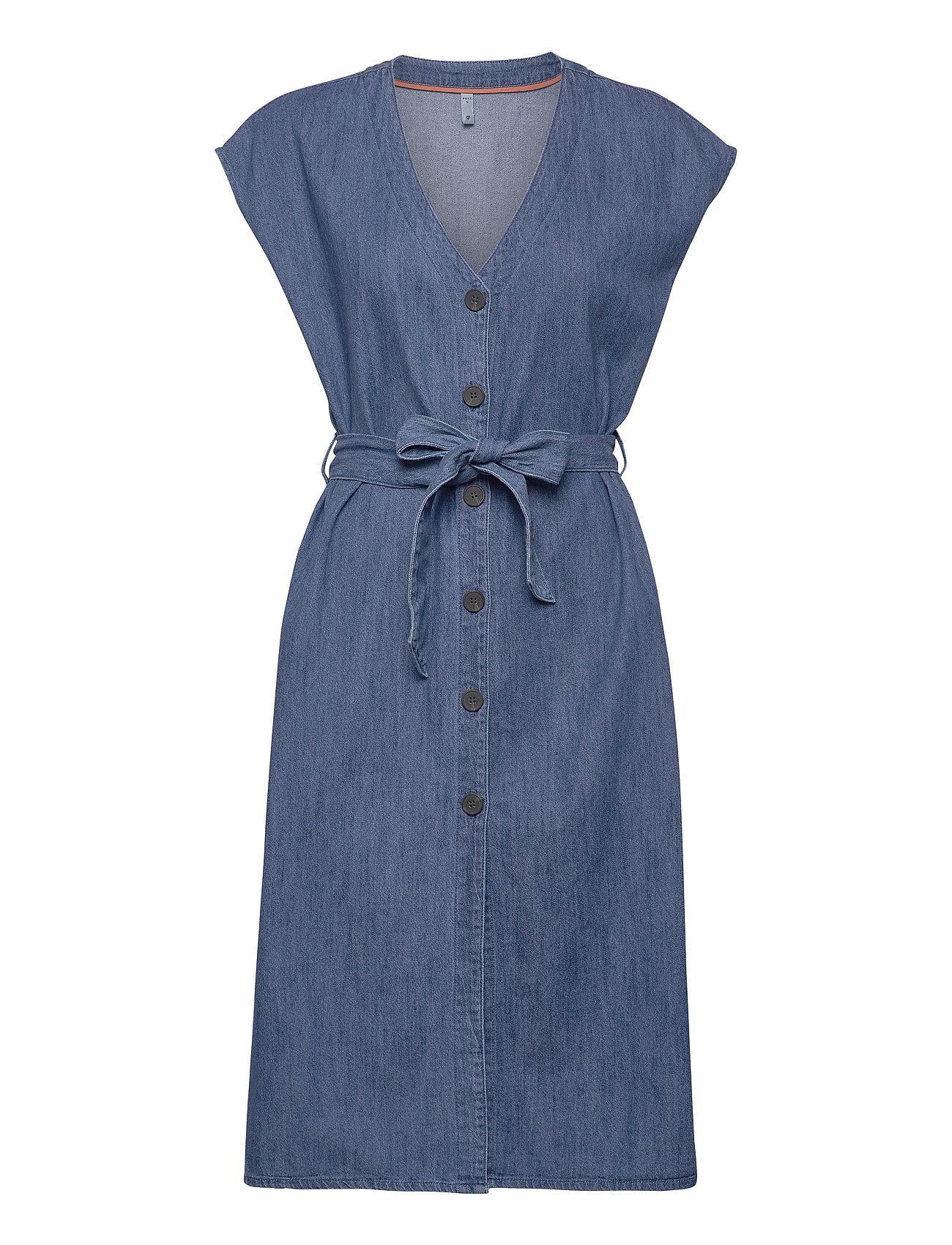Image of Pztinka Dress Knælang Kjole Blå Pulz Jeans (3413355767)