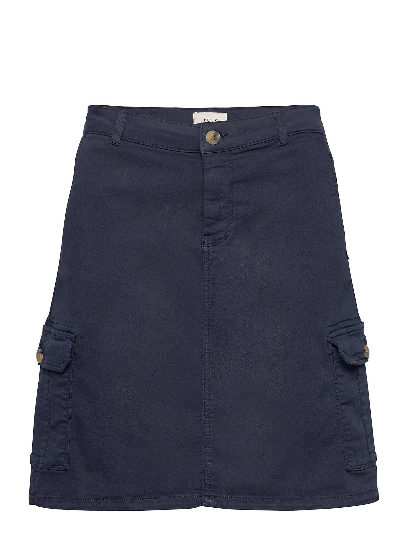 Image of Pzkarolina Skirt Kort Nederdel Blå Pulz Jeans (3413355771)