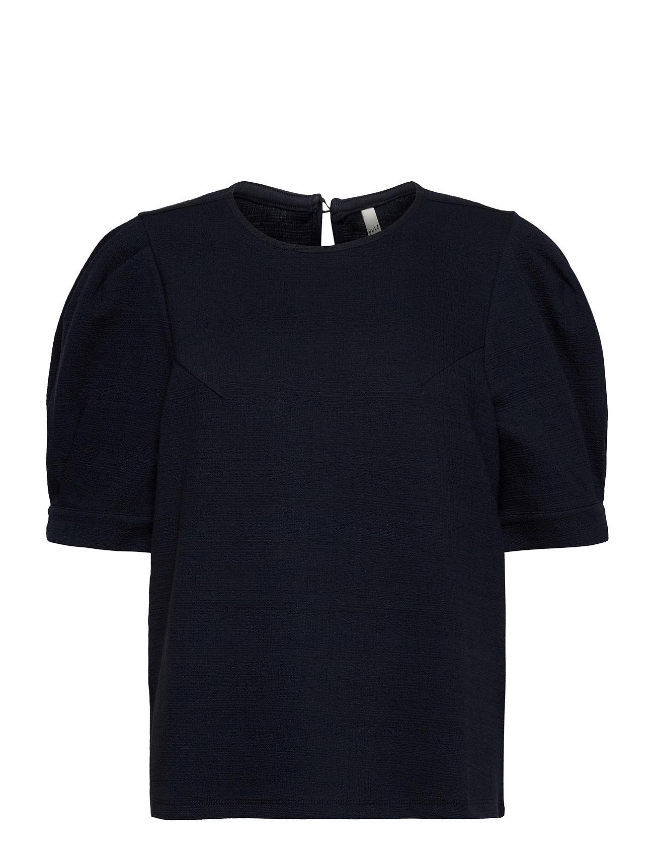 Image of Pzamra Blouse Blouses Short-sleeved Blå Pulz Jeans (3436649781)