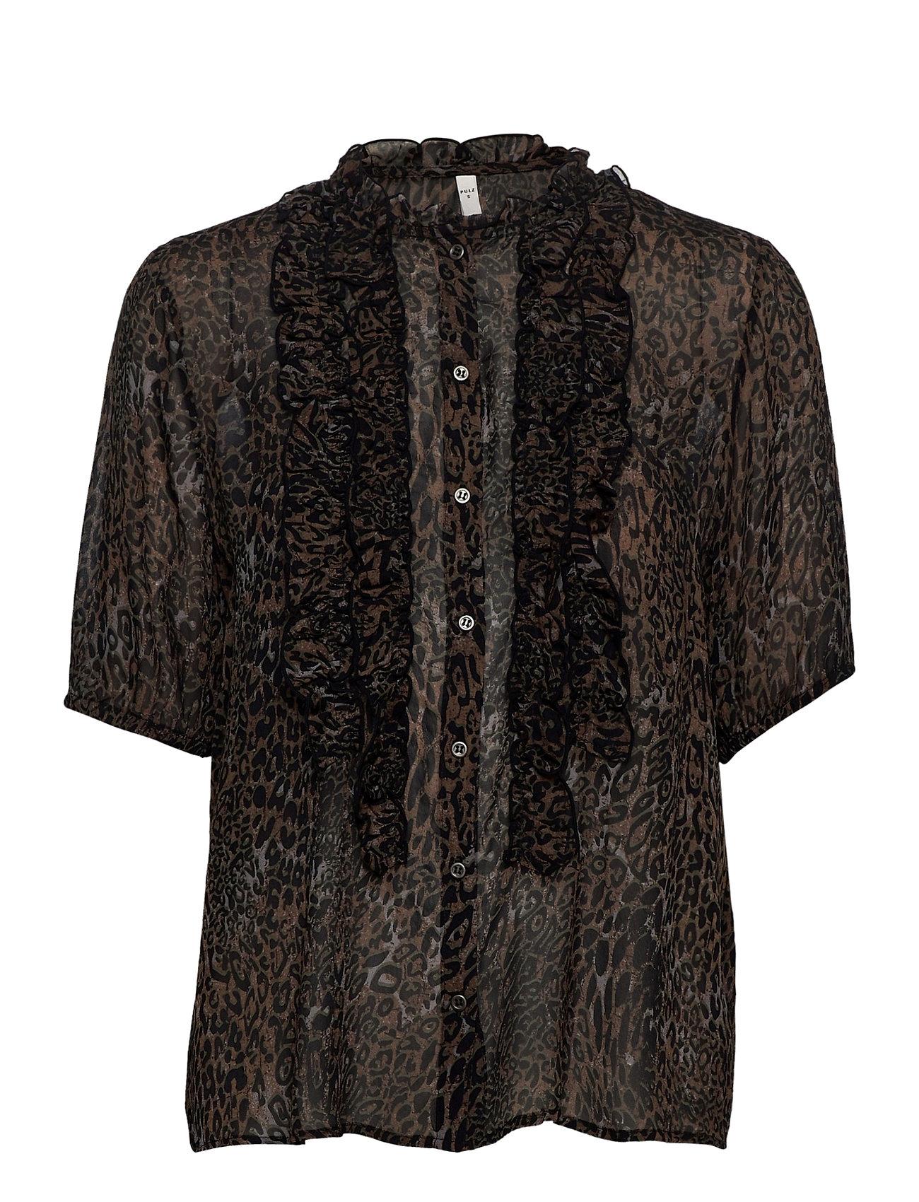 Image of Pzamaya Blouse Premium Quality Blouses Short-sleeved Sort Pulz Jeans (3454497863)