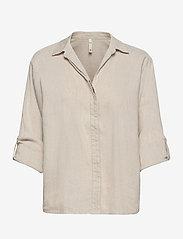 Pulz Jeans - PZLUCA Shirt - langærmede skjorter - sandshell melange - 2