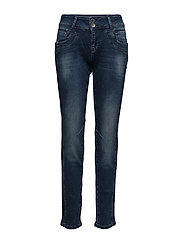 Stacia Curved Skinny - DARK BLUE DENIM