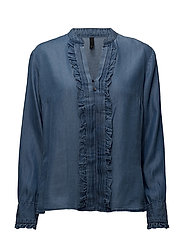 Canna L/S Blouse - MEDIUM BLUE DENIM