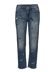 Graffiti Regular Straigh Ankle Leng - MEDIUM BLUE DENIM